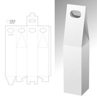 Molde 3d em branco da caixa de embalagem da garrafa e corte em tamanho real aberto