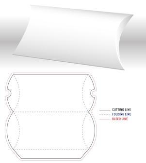 Molde 3d em branco para caixa de travesseiros e corte em tamanho real aberto