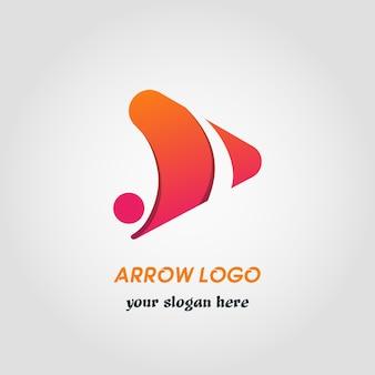 Molde abstrato do logotipo do seta do lado direito com cor do gradiente