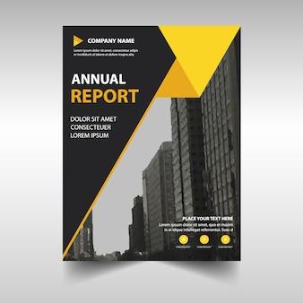 Molde amarelo creativo da tampa do livro do relatório anual
