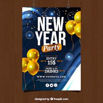 Molde azul do folheto do partido do ano novo com balões amarelos