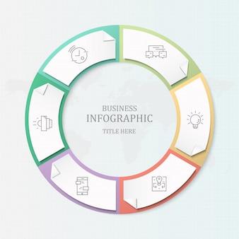 Molde azul do infographics do processo da cor 5 para o conceito atual do negócio.