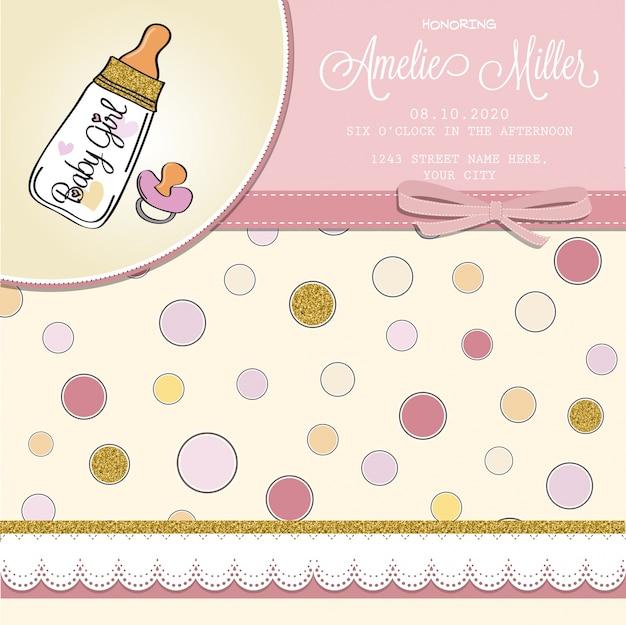 Molde bonito do bebê cartão do chuveiro com detalhes dourados brilhantes