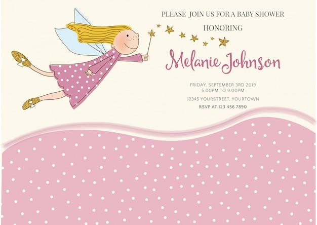 Molde bonito do cartão da festa do bebé com detalhes brilhando dourados
