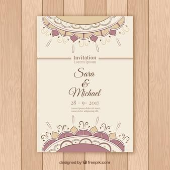 Molde bonito do convite do casamento da mandala