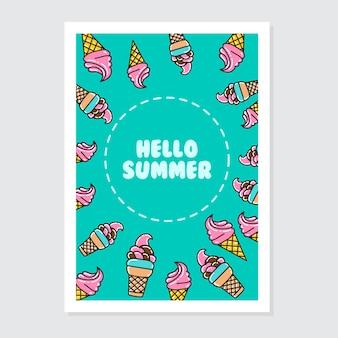 Molde bonito do convite e do cartão com escrita brilhante do verão do olá