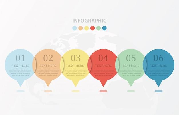 Molde colorido do número do infographics 6 do círculo e conceito das ideias.