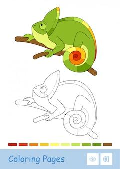 Molde colorido e imagem incolor do contorno do camaleão bonito que senta-se no ramo isolado no fundo branco.