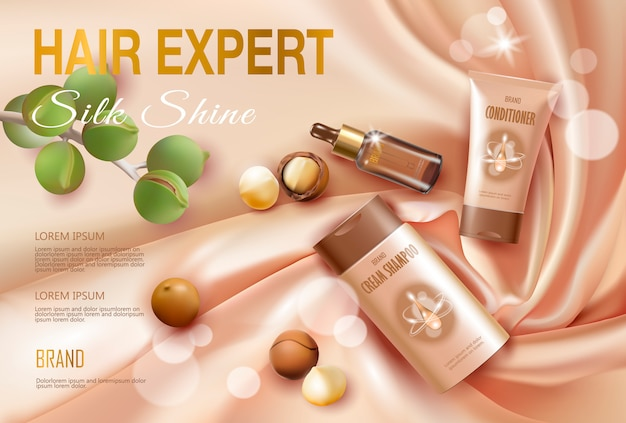 Molde cosmético realístico do anúncio do óleo de porca de macadâmia 3d.
