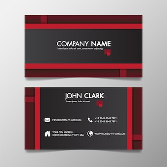 Molde criativo moderno vermelho e preto do negócio modelado e cartão conhecido.