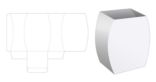 Molde curvo de caixa de papelaria cortada