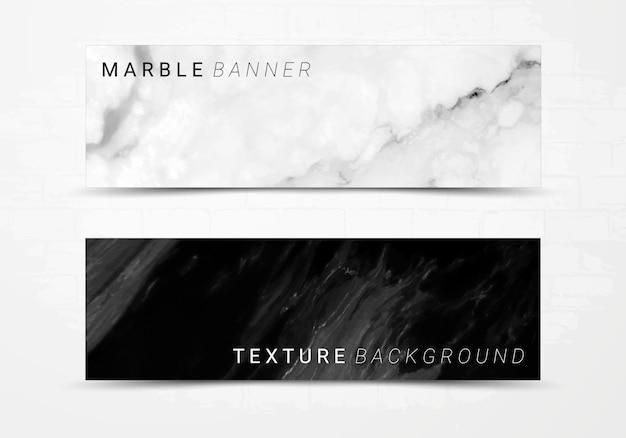 Molde da bandeira do fundo de textura de mármore preto e branco.