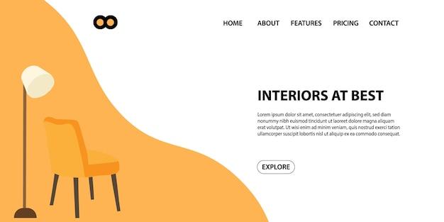 Molde da bandeira do slider da página da web do interior do negócio do furniture