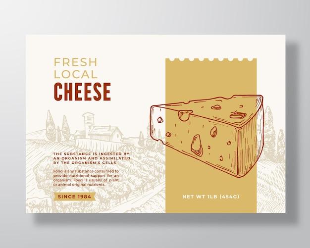 Molde da etiqueta do alimento do queijo fresco. layout de design de embalagem de vetor abstrato. banner de tipografia moderna com pedaço de queijo desenhado de mão e fundo de paisagem rural. isolado