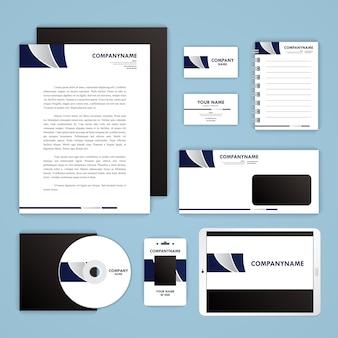 Molde da identidade corporativa definida. papelaria mock-up para seu projeto de branding