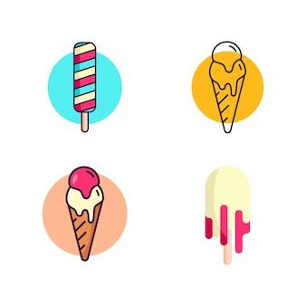 Molde da ilustração do ícone do vetor de sorvete