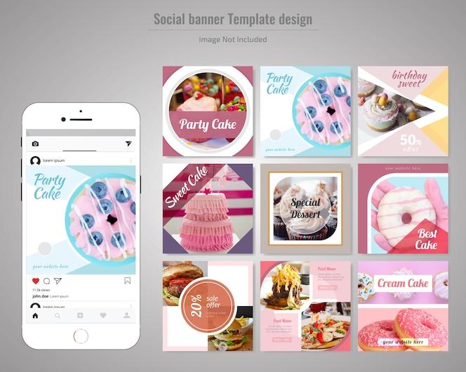 Molde da postagem de mídia social de bolo