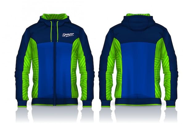 Molde das camisas do hoodie projeto de jaqueta, parte dianteira da trilha do sportswear e vista traseira.