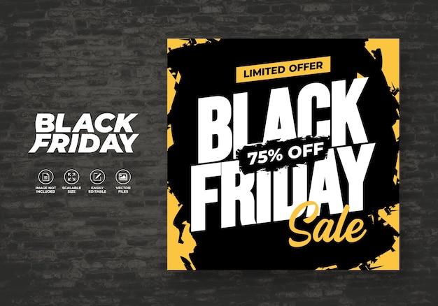 Molde de bandeira de design liso de venda de cor preta sexta-feira