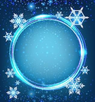 Molde de borda com flocos de neve em azul
