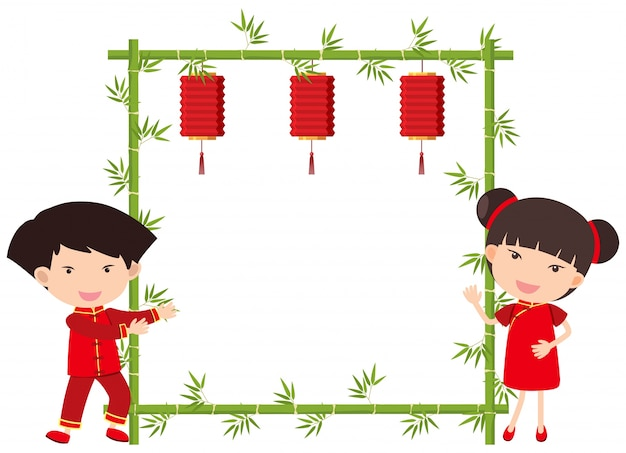 Molde de borda com menino e menina chineses