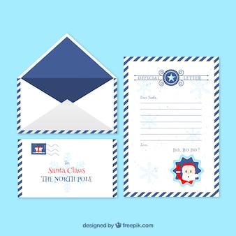 Molde de carta de natal em um quadro azul