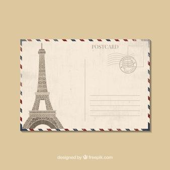 Molde de cartão postal de viagem em estilo plano