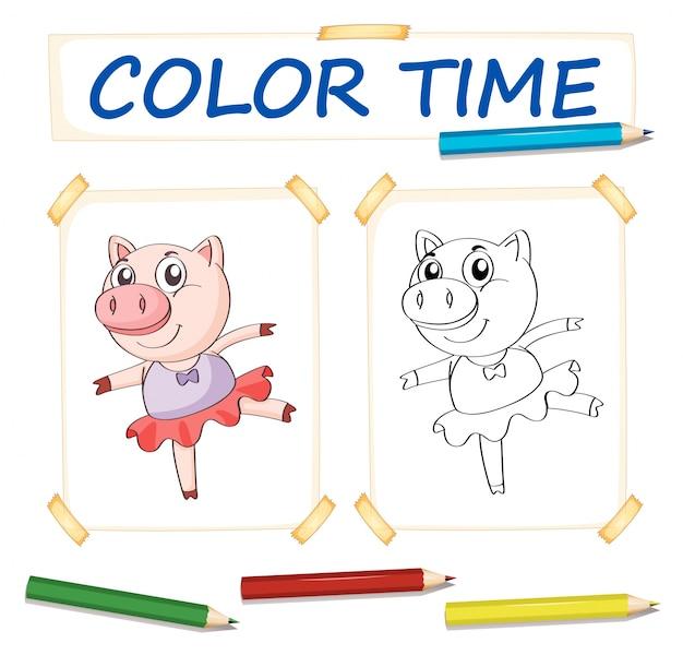 Molde de colorir com porco em vestido de balé