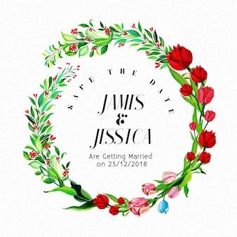 Molde de convite de casamento colorido de aquarela colorida cartão multifunções