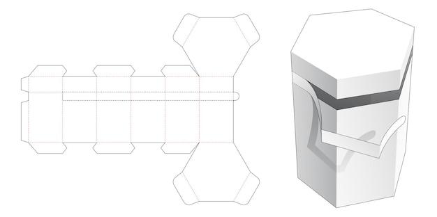 Molde de corte e vinco para caixa de embalagem hexagonal