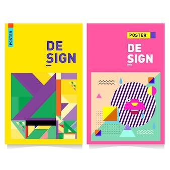Molde de design de cartaz colorido com fundo de estilo de memphis