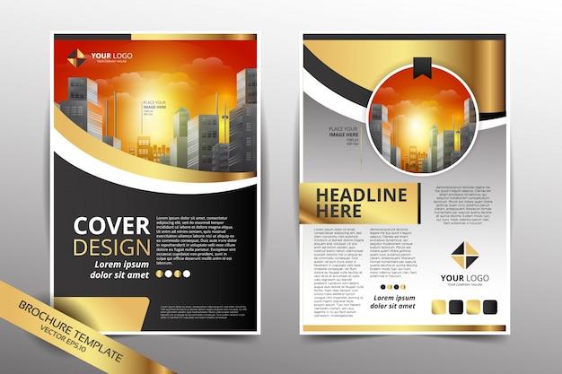 Molde de design de panfleto com fundo da cidade cor de ouro