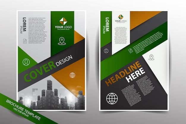 Molde de design de panfleto com fundo da cidade em cor verde e amarelo