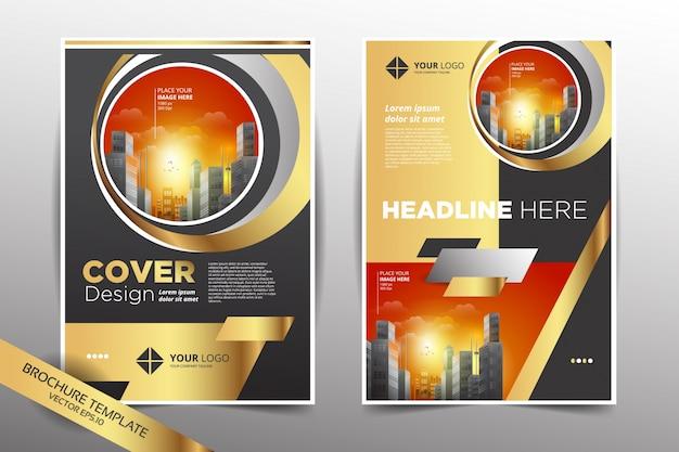 Molde de design de panfleto com fundo da cidade em gold light color