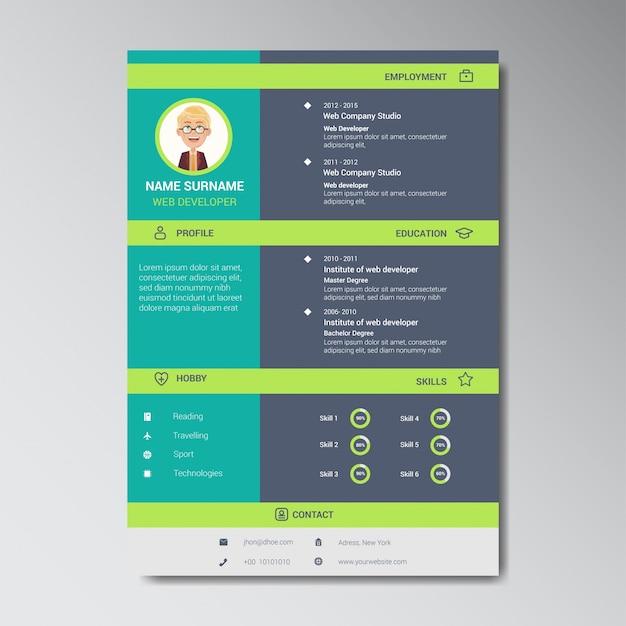 Molde de design original curriculum vitae de cores planas com marcador de posição de foto ou avatar