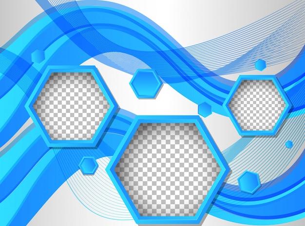 Molde de fundo com formas hexagonais em azul