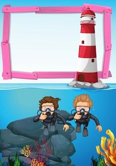 Molde de fundo com mergulhadores debaixo d'água