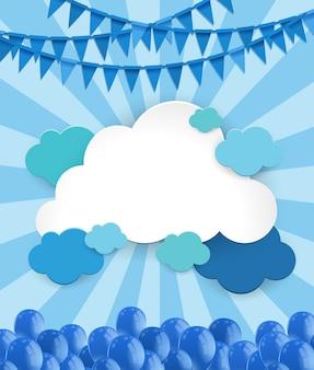 Molde de fundo com nuvens e balões