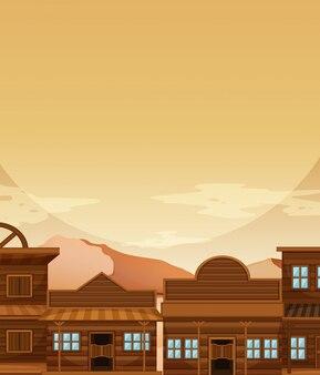 Molde de fundo com prédio em vaqueiro ocidental