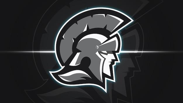 Molde de logotipo espartano do guerreiro