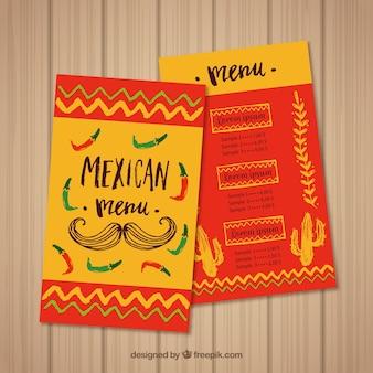 Molde de menu de comida mexicana vermelha e amarela