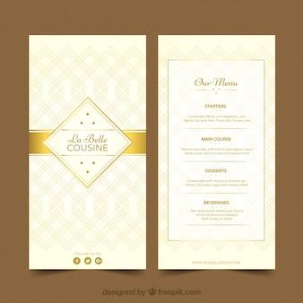 Molde de menu legal com ornamentos dourados