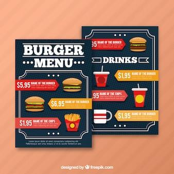 Molde de menu pontilhado com hambúrgueres