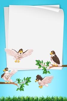 Molde de papel com águias em segundo plano