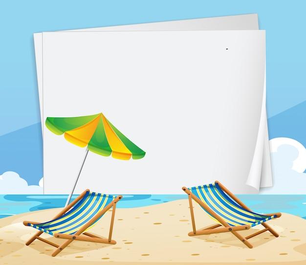 Molde de papel com cadeiras na praia