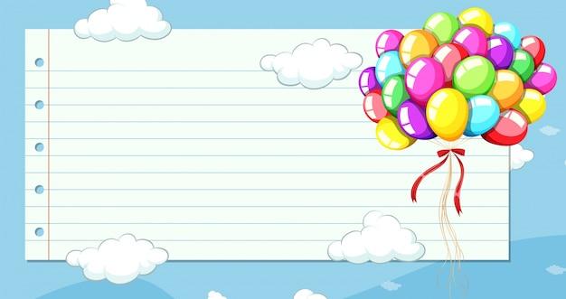 Molde de papel de linha com balões no céu