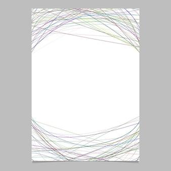Molde de papelaria com listras curvas caóticas - design de página vetorial no fundo branco
