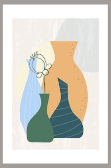 Molde de uma composição abstrata com uma flor e diversos vasos