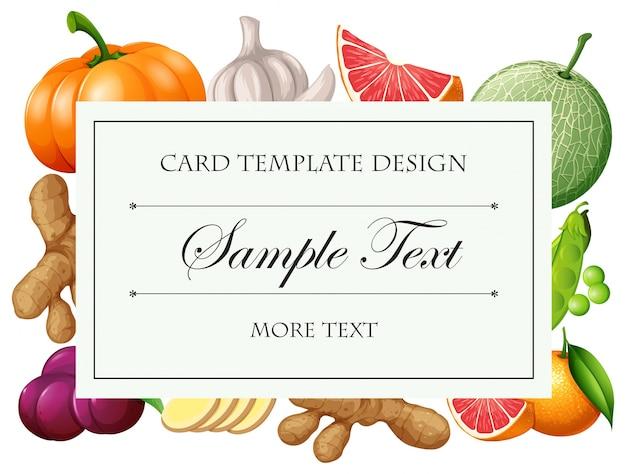 Molde do cartão com ilustração dos vegetais e das frutas