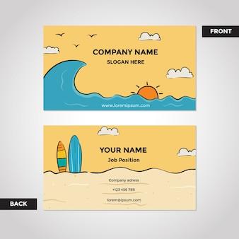 Molde do cartão de visita da praia e da ressaca parte dianteira e parte traseira